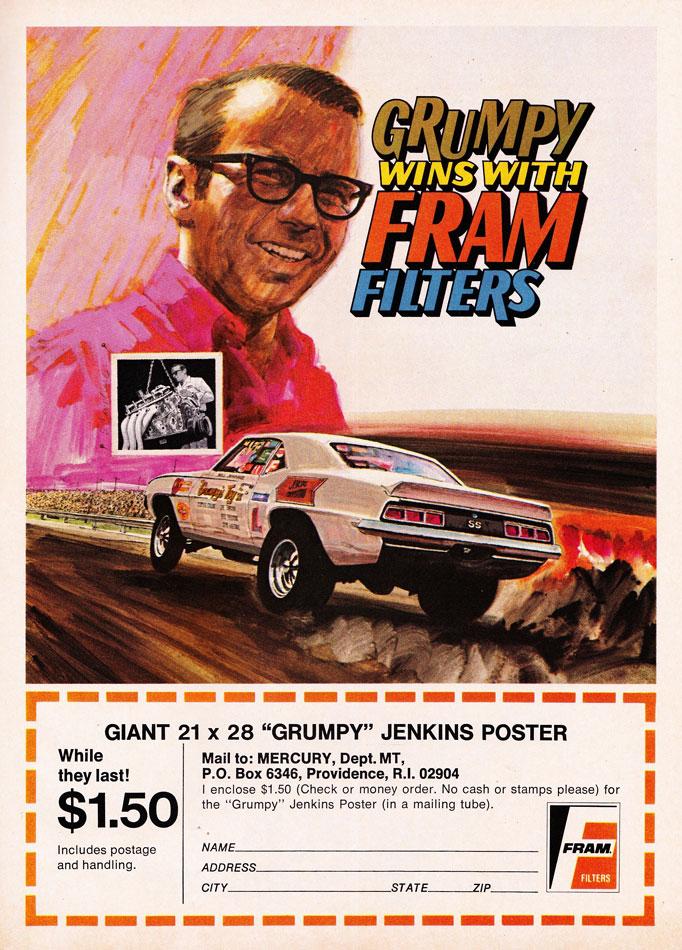 1969 SS Camaro Grumpy Jenkins Fram Ad