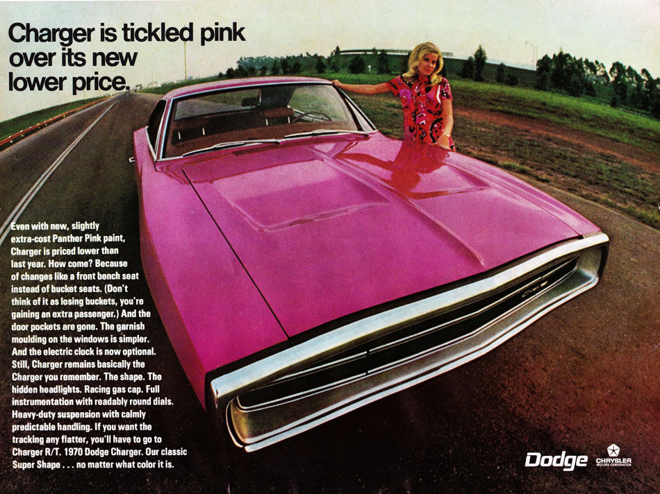 1970 Panther Pink Dodge Charger Ad