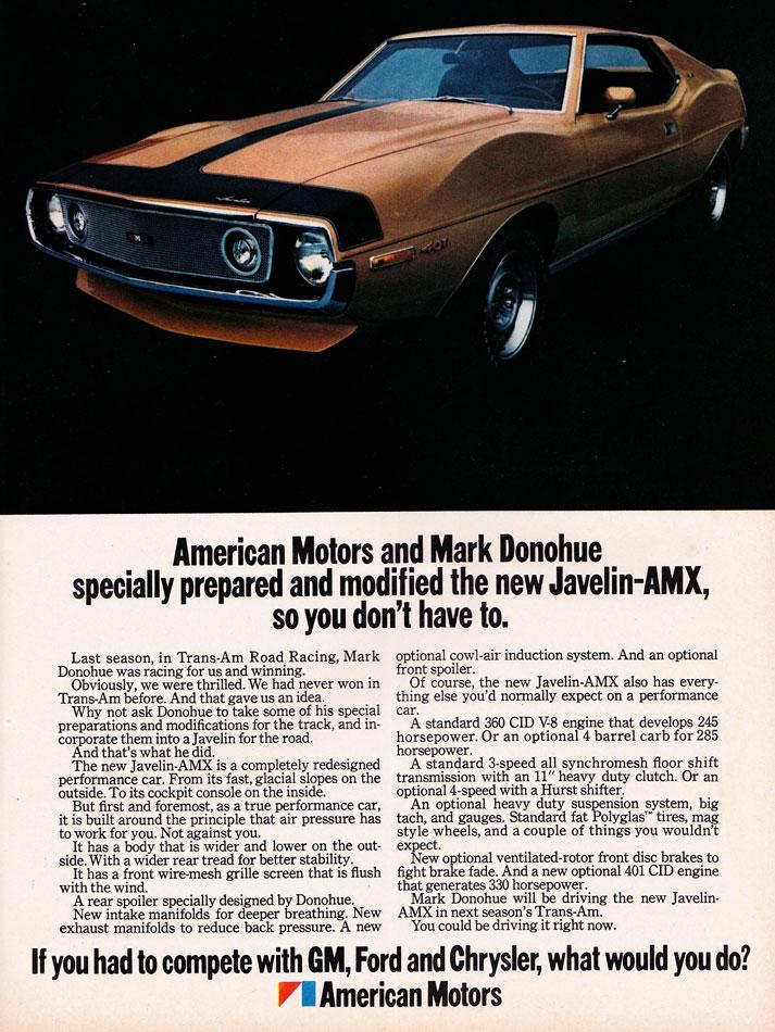 1970 Penske Donohue Javeline AMX Ad