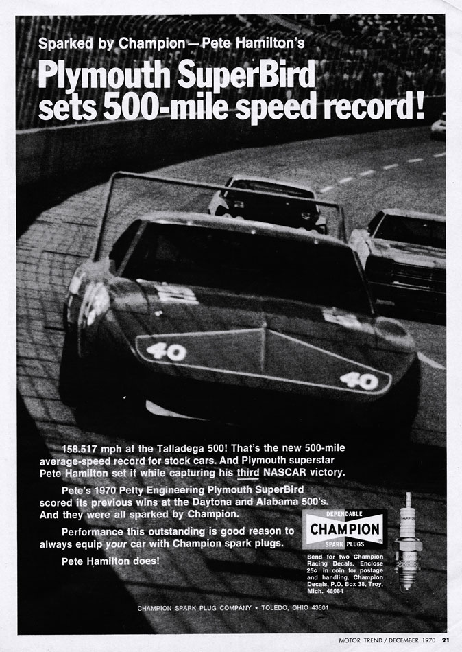 1970 Plymouth SuperBird Speed Record Ad