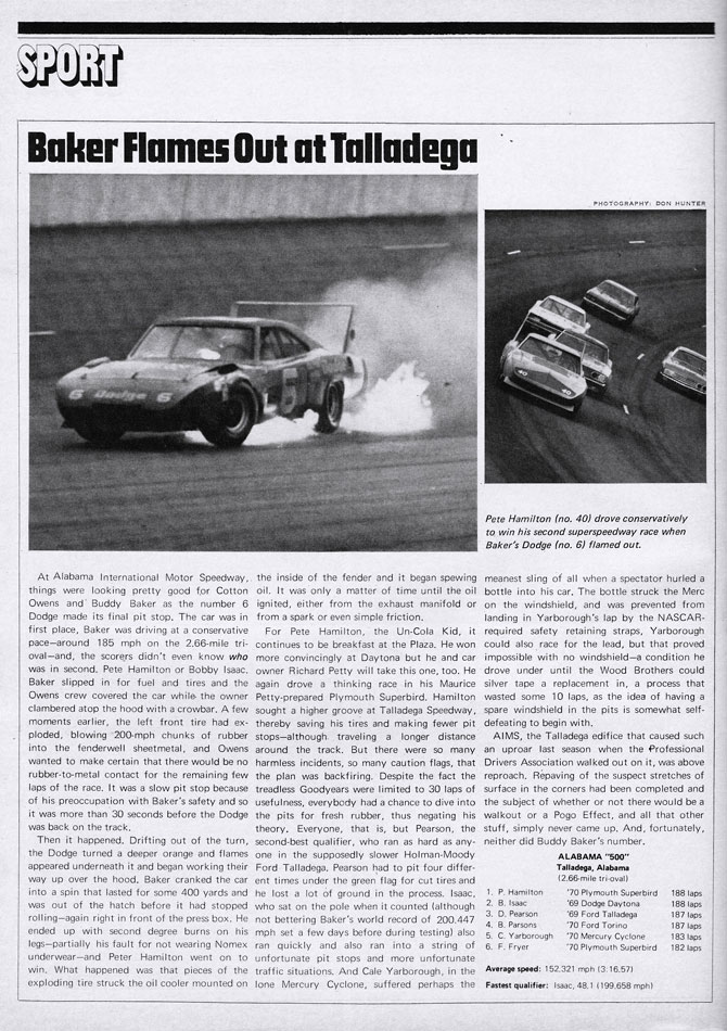 1970 Talladega 500 SuperBird Win