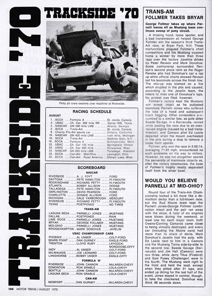 1970 Trackside Scoreboard Richard Petty