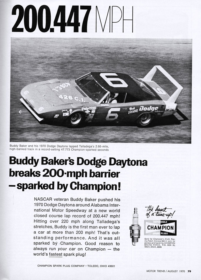 BuddyBakers 200MPH 1970 Dodge Daytona Ad