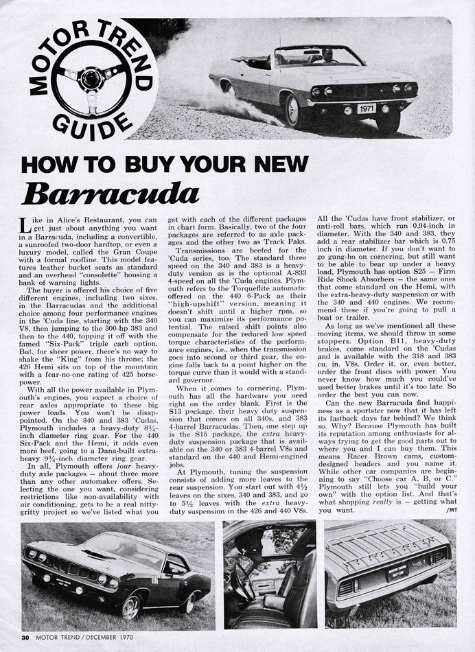 How To Buy Your New 1970 Plymouth Barracuda