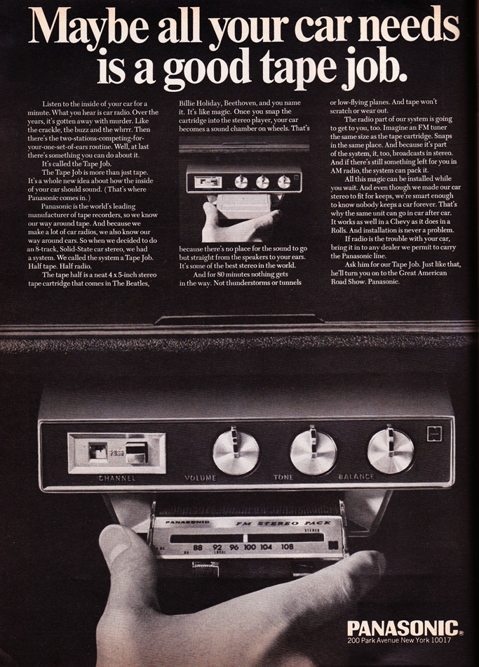 Panosonic 8-Track Car Stereo Ad