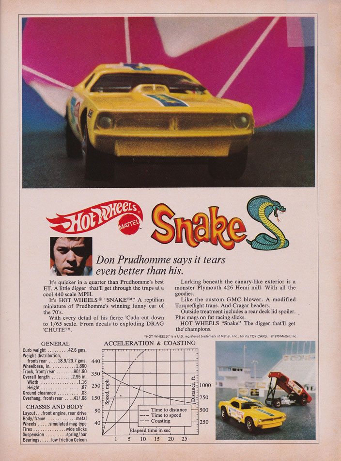 Don Prudhommes 70 Hot Wheels Hemi Cuda Snake