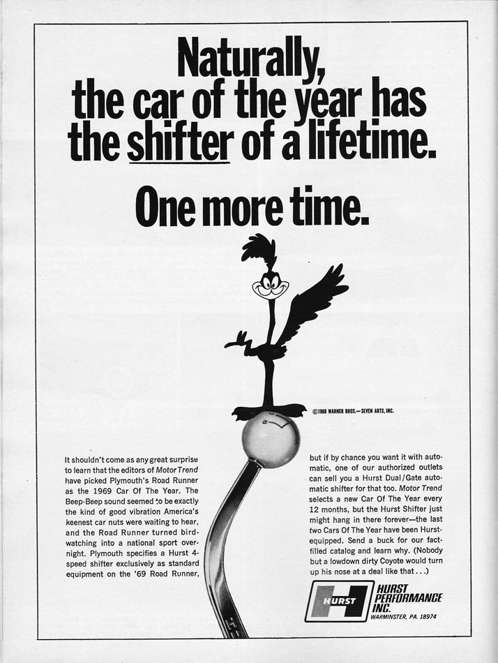 Road Runner Hurst Shifter Ad