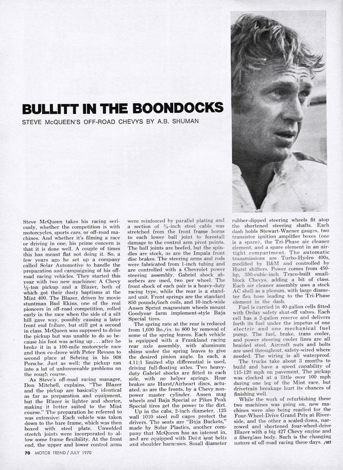 1970 Steve McQueen Off Road Racers Chevy Blazers pg1