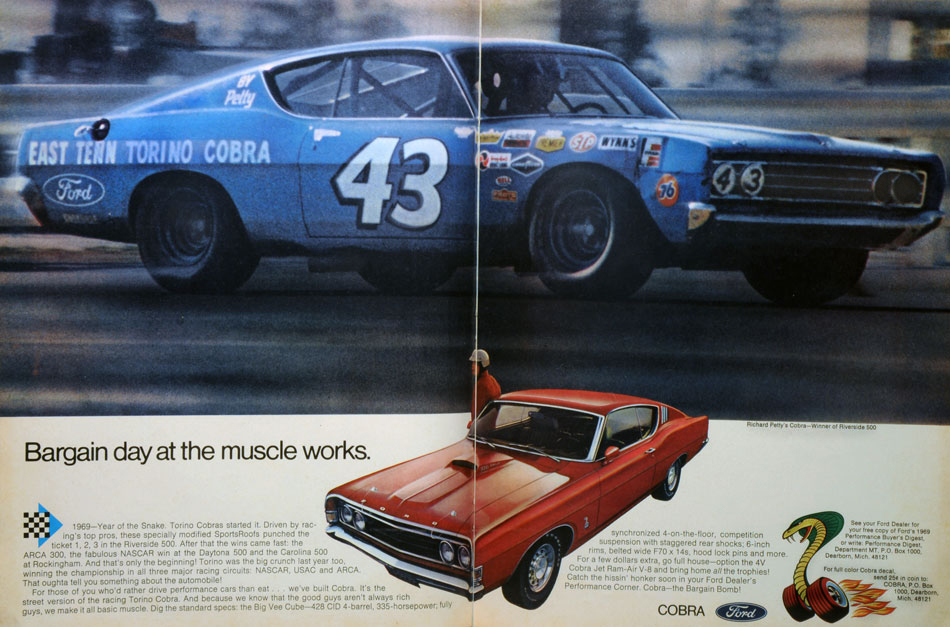 Richard Petty 69 Year Of The Snake Torino Cobra Ad And Offers