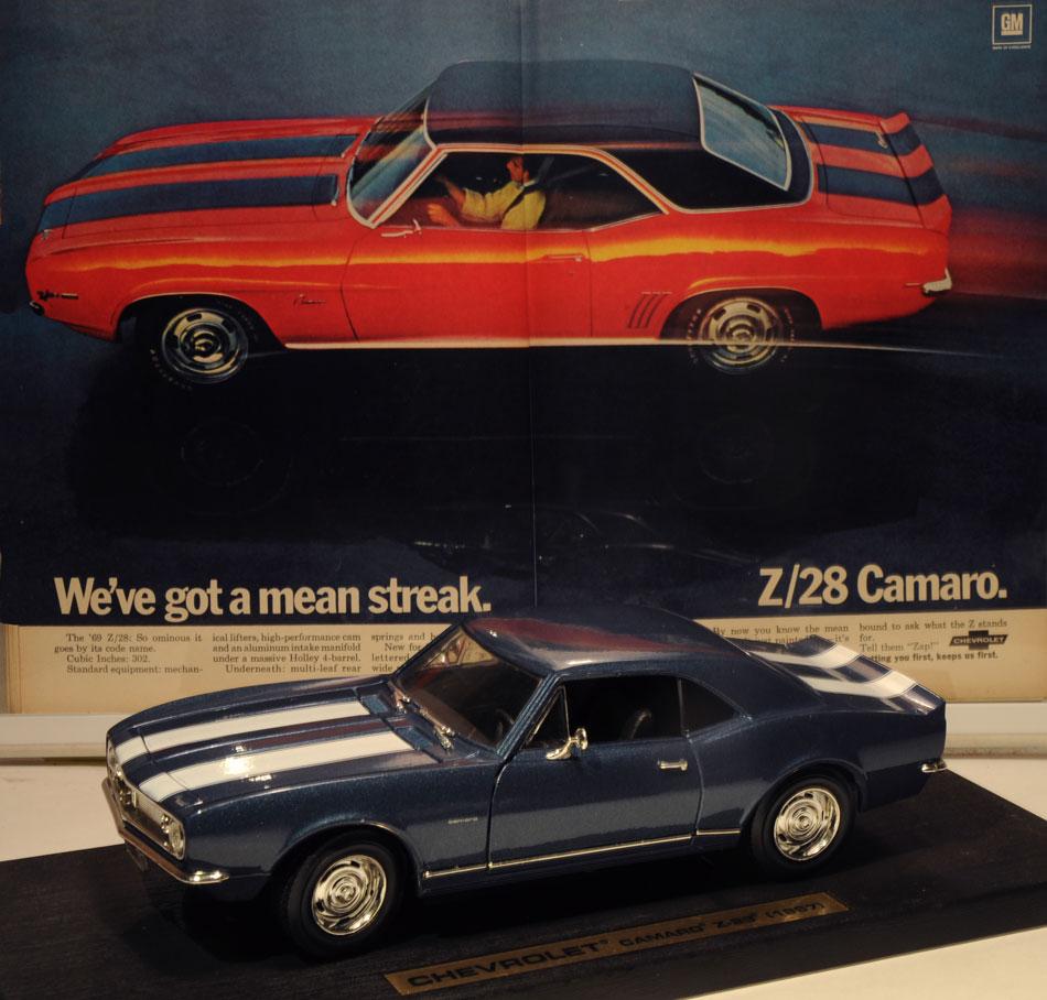 67 Chevy Camaro Z28 Die Cast & Ad