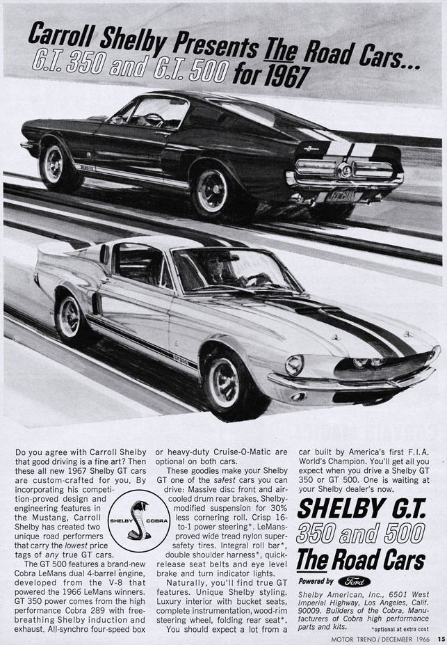67 Carroll Shelby Cobra GTs The Road Car Ad