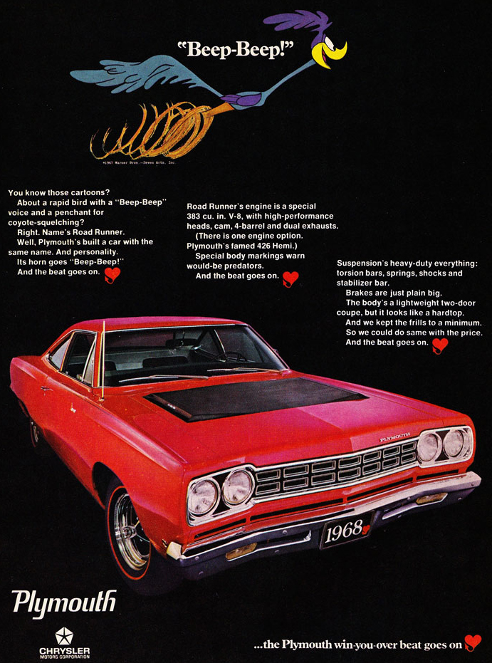 68 Plymouth Roadrunner Beep Beep Ad