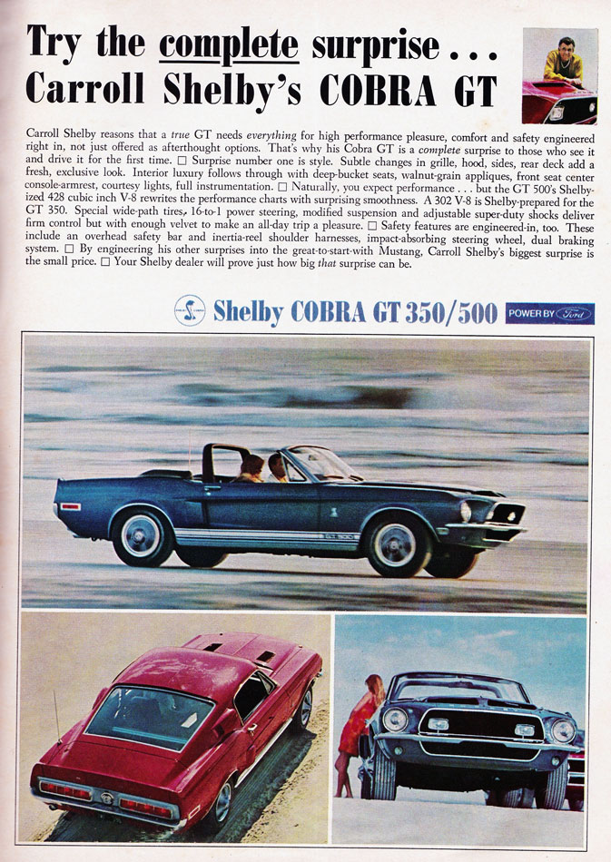 68 Shelby Cobra GT 500 Ad