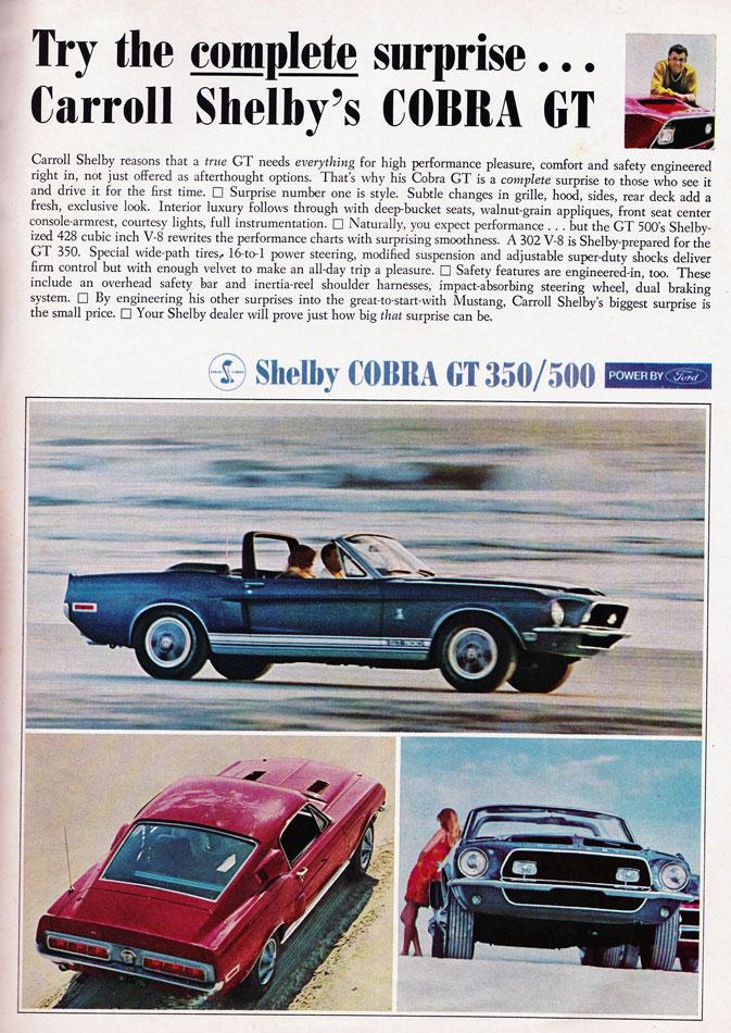 68 Shelby Cobra GT 500 Ad