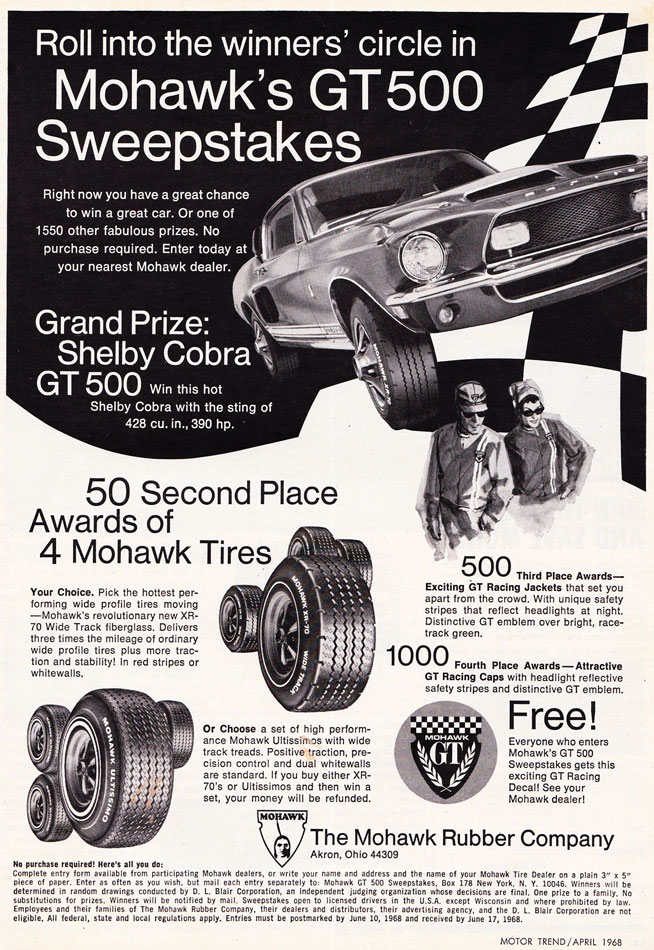 68 Shelby Cobra GT 500 Sweepsteaks Ad