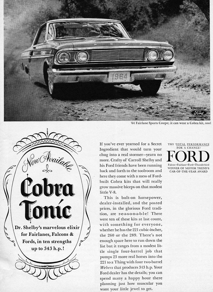 64 Ford Fairlane Cobra Tonic Ad