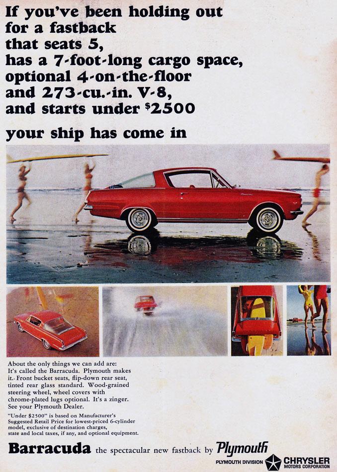 64 Plymouth Barracuda Surfing Ad