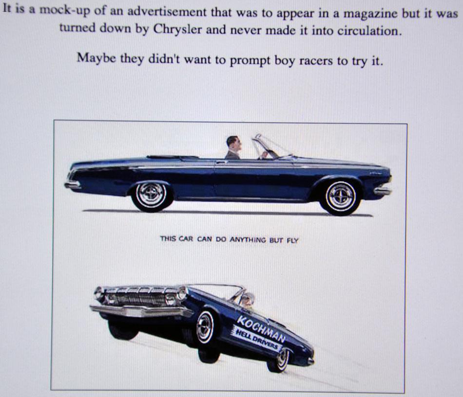 Kochman Hell Drivers 63 Dodge Flying Ad