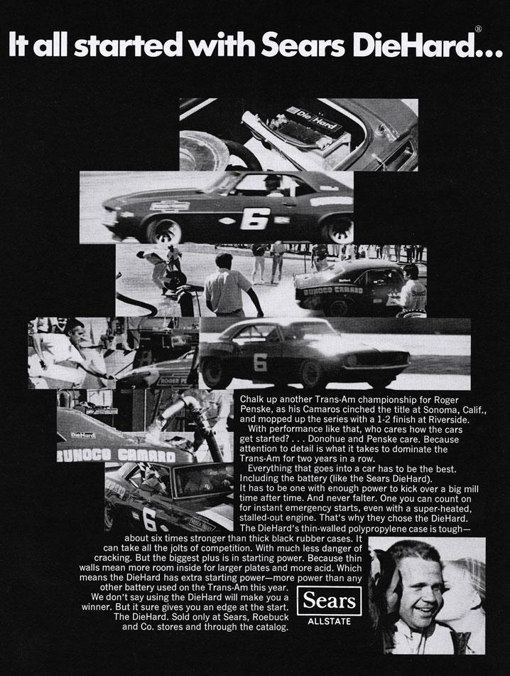 1969 Roger Penske Donohue Camaro TransAm Win At Sonoma Ad