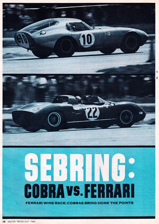 1964 Sebring Race Cobra Vs Ferrari