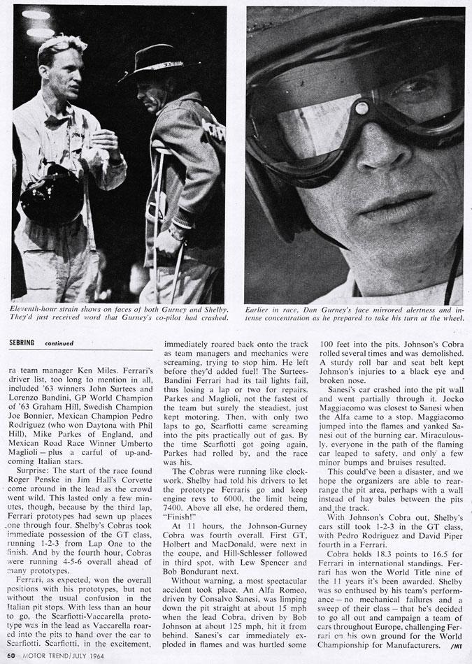 1964 Sebring Race Cobra Vs Ferrari 3