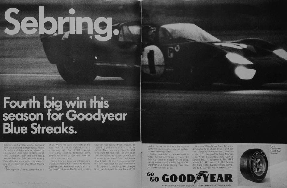 66 Ford GT Sebring Winner Goodyear Ad