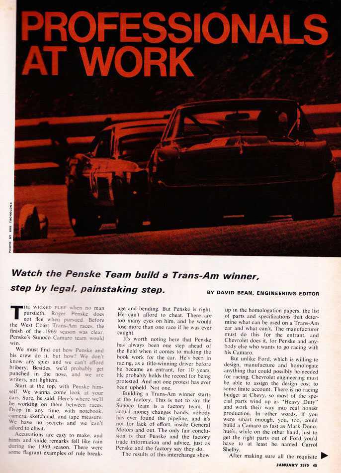 Roger Penske Builds A TransAm Winner